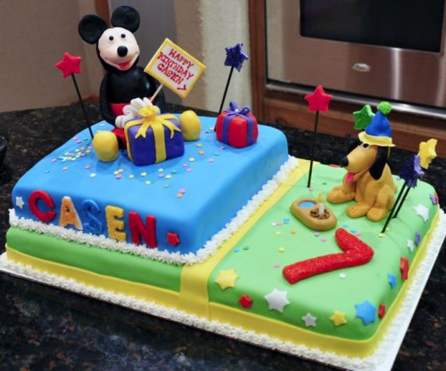 Awesome Mickey Mouse Pluto Wide Rectangular Cake For 7Th Birthday Jpg Hi Funny Birthday Cards Online Elaedamsfinfo