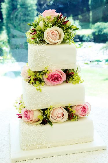 Three Tier Wedding Cake With Roses Square White In