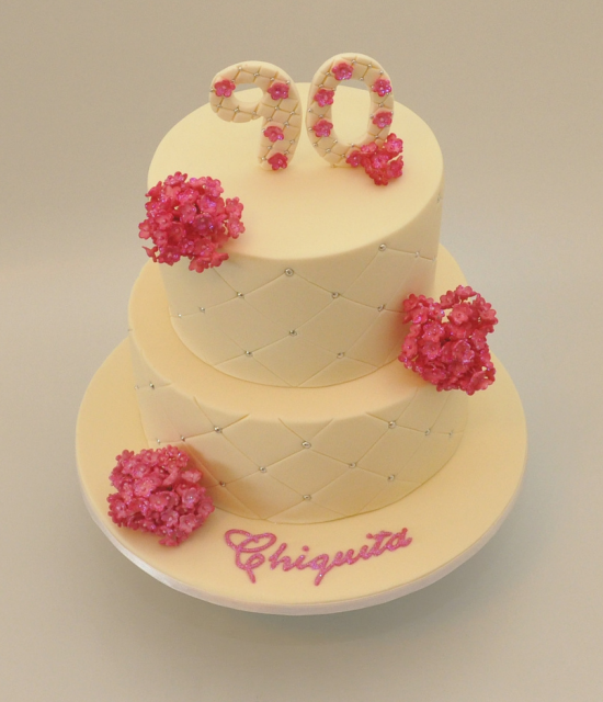 90 birthday cake in yellow with pink floral cake decor png