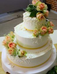 Tri-tier white round wedding cake with offset stacking and fresh pink roses.JPG