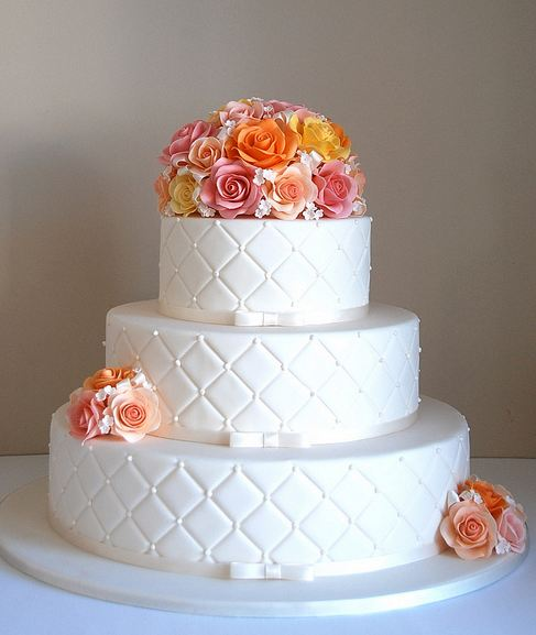 3 Tier White Round Elegant Wedding Cake With Fresh RosesJPG 1 Comment