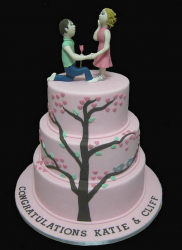 Light pink three tier engagement cake with furture groom asking his furture bride to marry him.PNG