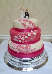 Three tier pink and white round wedding cake with bride and groom topper and mini flowers.JPG