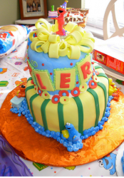 Colorful first birthday cakes with Elmo theme_fancy first birthday cakes pictures.PNG