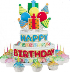 Neutral first birthday cake with balloon cake theme with big happy birthday letters cake decor.PNG