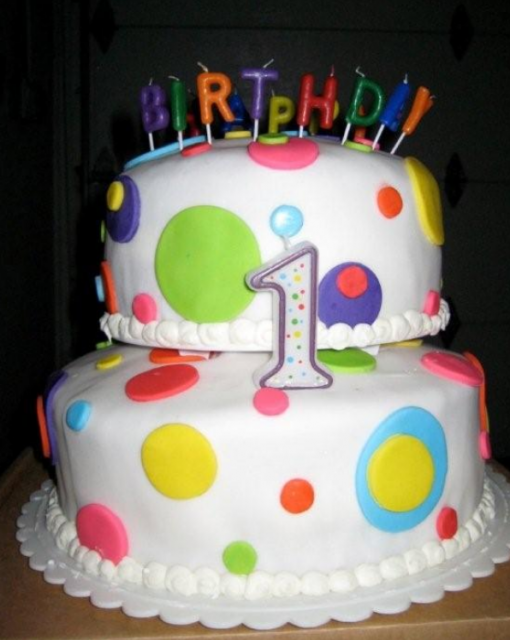 trendy first birthday cake with colorful dots and letters