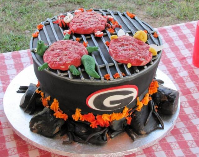 Grill Cake With College School Rival Mascots On Grill Jpg