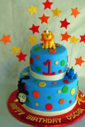 Two tiers cakes ideas for first birthday with jungle animals and stars.PNG