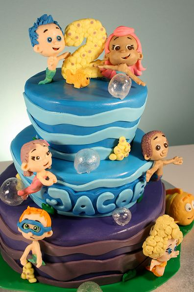 Superb Three Tier Ocean Cartoon Theme Birthday Cake For Two Year Old Boy Jpg Personalised Birthday Cards Veneteletsinfo