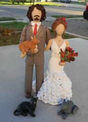 Detailed Bride and Groom and pets wedding cake topper from juliescustomtoppers.com .JPG