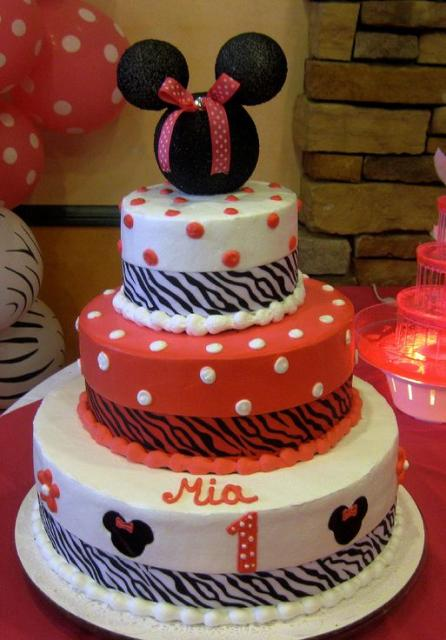 3 tier Minnie Mouse theme first birthday cake.JPG