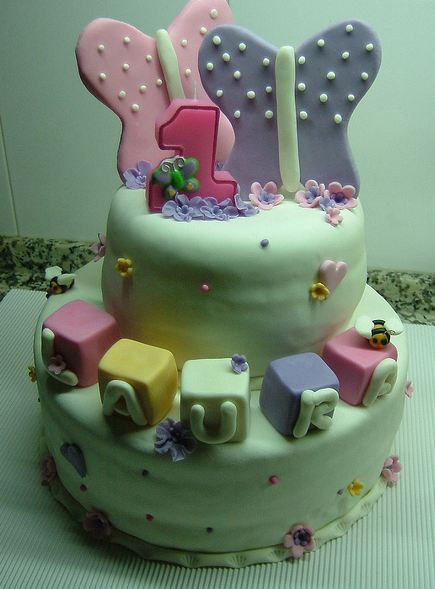 Peachy Two Tier First Birthday Cake For Girl With Baby Blocks And Personalised Birthday Cards Petedlily Jamesorg