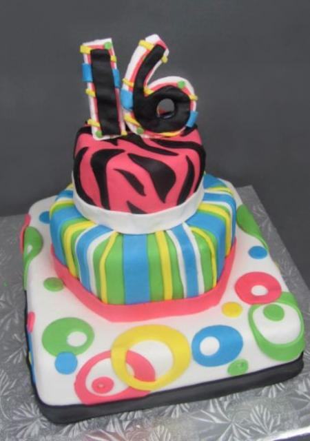 Colorful Three Tier Sweet 16 Birthday Cake With The Number