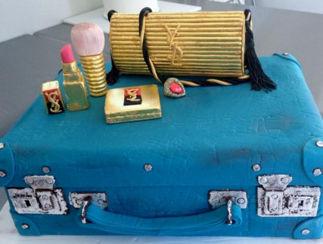 Turquoise Suitcase Cake with Gold Purse & Make-Up.JPG