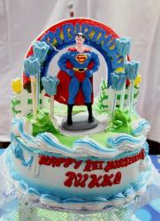 Superman theme first birthday cake.JPG