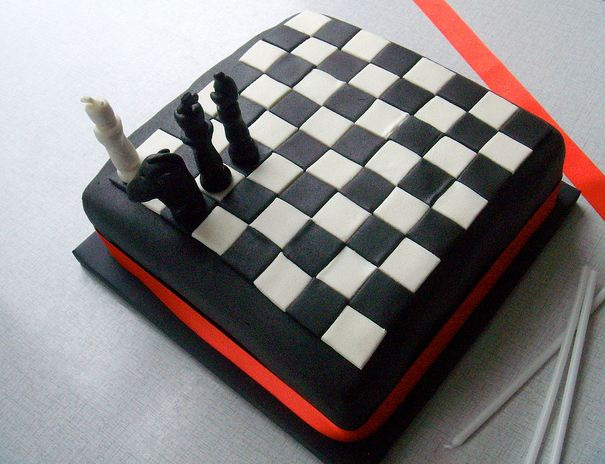 Chess board cake with red accent.JPG