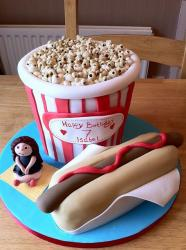 Hot Dog in a bun and Popcorn birthday cake.JPG