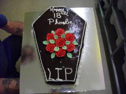 Coffin Cake... I was asked to create this cake to celebrate an 18th Birthday.