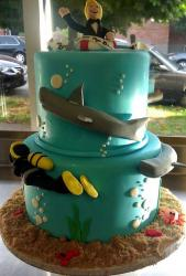 2 tier ocean and beach theme Groom's cake with sharks and scuba diver.JPG