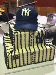 New York Yankees theme 2 tier Groom's Cake.JPG