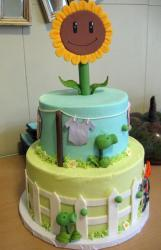 2 tier plants and zombies theme baby shower cake.JPG