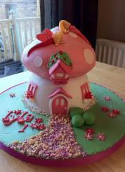 Pink mushroom house first birthday cake for baby girl.JPG