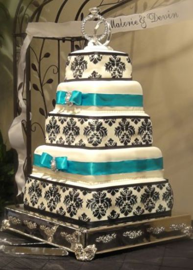 wedding cake turquoise 5 tier rectangular wedding cake in white with black accent 26731