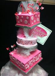3 tier pink ballerina theme 15th birthday cake for girl.JPG