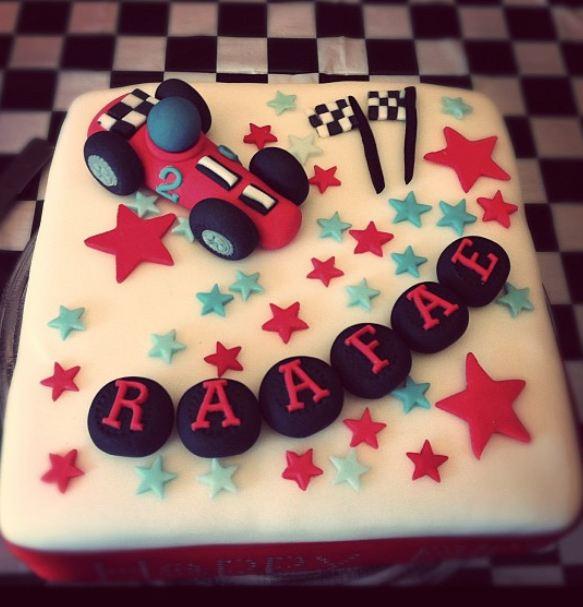 Race Car Theme Square Birthday Cake For Boy Jpg