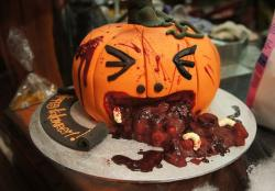 Creative Pumpkin throwing up Halloween cake.JPG