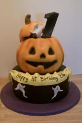 Halloween pumpkin theme first birthday cake.JPG