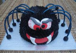 Black spider with bulging eyes and fangs Halloween cake.JPG