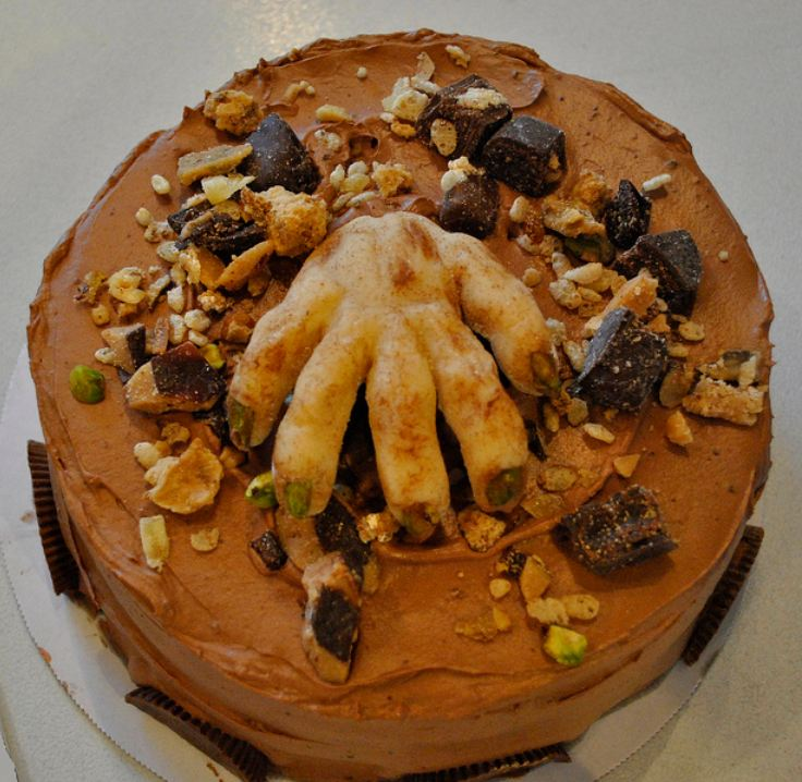 Severed hand chocolate cream Halloween cake.JPG