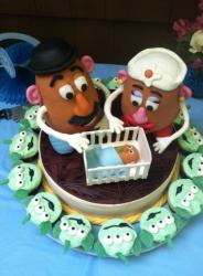 Mr and Mrs Potato Head theme baby shower cake.JPG
