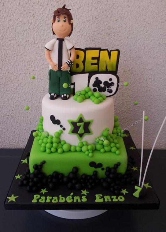 Two tier Ben 10 birthday cake for 7 year old.JPG