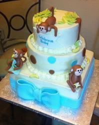 3 tier baby monkey theme baby shower cake.JPG