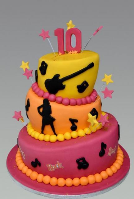 Rock Music Theme 3 Tier Topsy Turvy 10th Birthday Cake Jpg