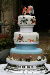 Polo theme wedding cake with various animals.JPG