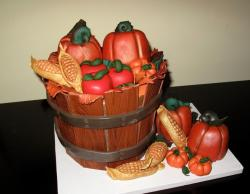 Pumpkin and corn bushel Thanksgiving cake.JPG