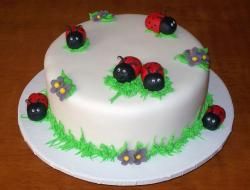 White round cake with smiling ladybugs.JPG