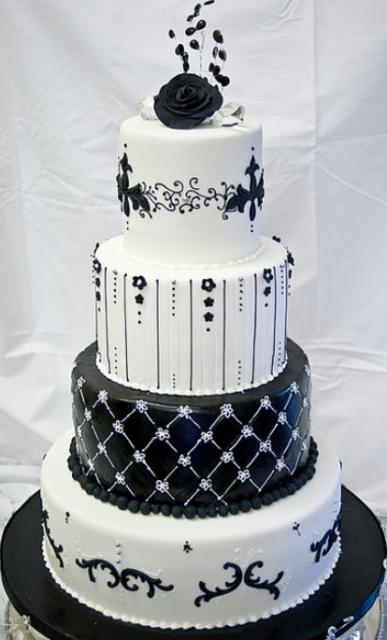 images of black and white wedding cakes 4 tier white black and white wedding cake jpg 16333
