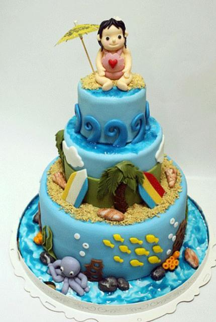3 Tier Ocean And Beach Theme Cake With Sea Life Jpg 1