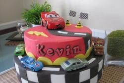 Two tier Cars cake with 5 cars.JPG
