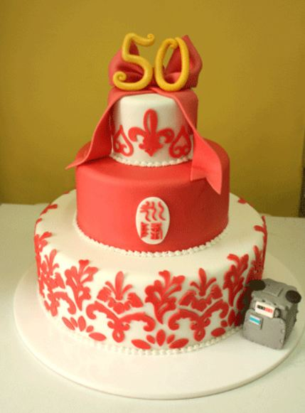 3 Level 50th Birthday Cake In Red And White With Bow The Number 50