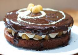 Two layer mini chocolate cake with puffs and fudge.JPG