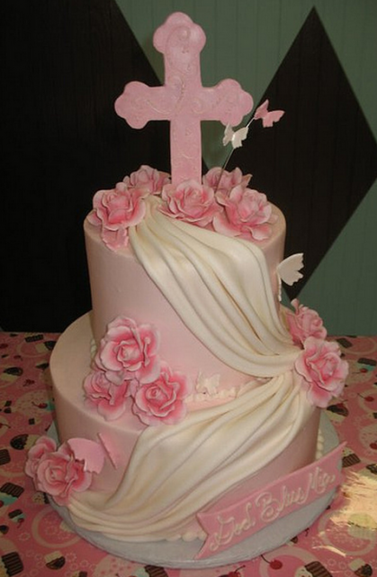 Two White And Pink Baptism Cakes With Big Pink Cross Png