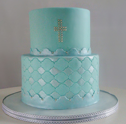 Chic Boy Baptism cake with two tiers in blue with silver cake decor.PNG