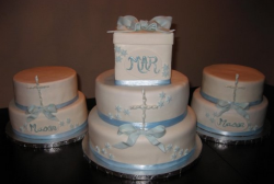 Fancy boy baptism cakes set in blue and light blue cake decors.PNG