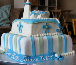 Big boy baptism cakes in square shape with blue cake decor.PNG