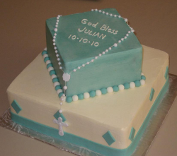 Box shape baptism cakes in blue and white for boys.PNG